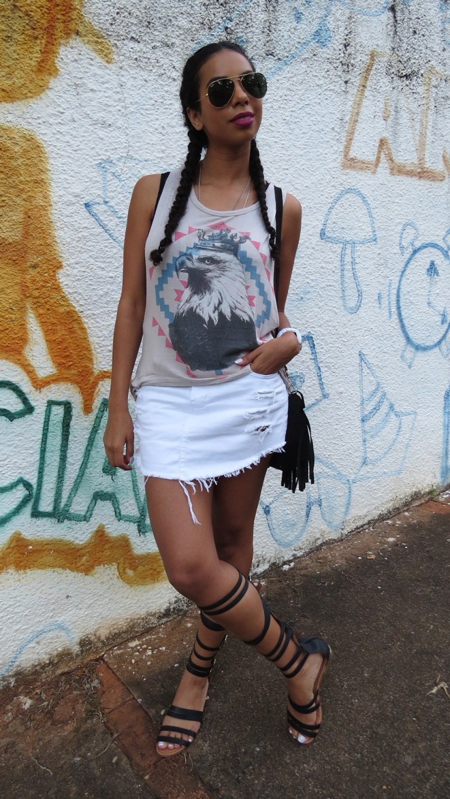 Look do dia com sandália gladiadora